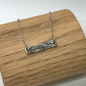 Handmade rustic sterling silver bar necklace